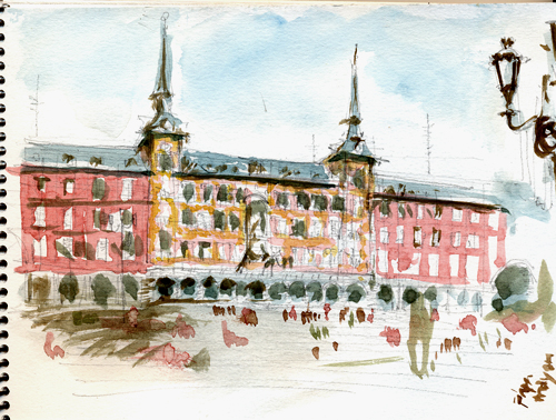 acuarela, plaza mayor - madrid