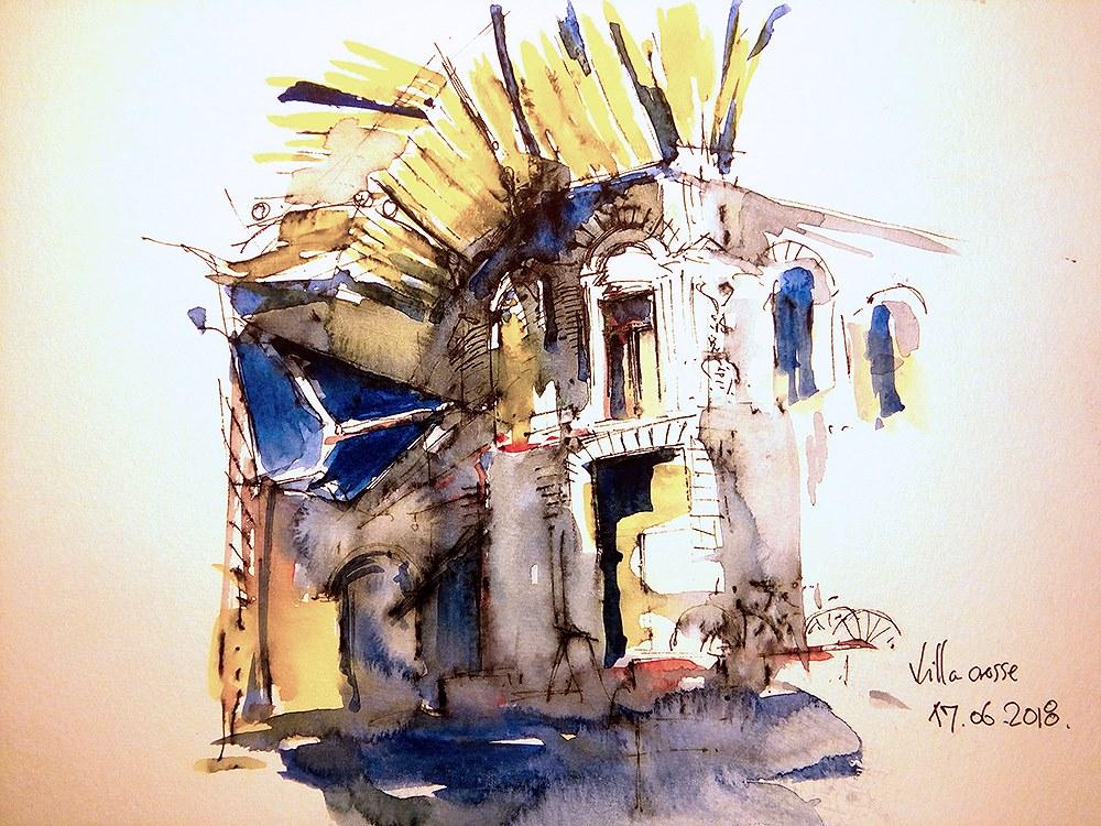 Macca Vilacrosse Passage – Bucharest, 19x27cm watercolour, 150€ (with frame)