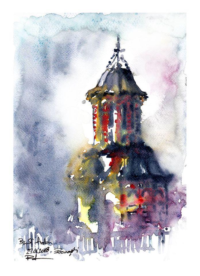 St. Anton Church – Bucharest, 21x29cm watercolour, 160€