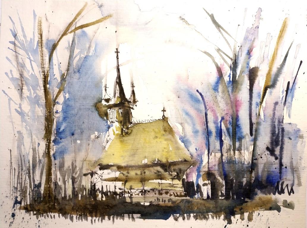 Biserica de lemn din Turea –  județul Cluj, 23x31cm watercolour