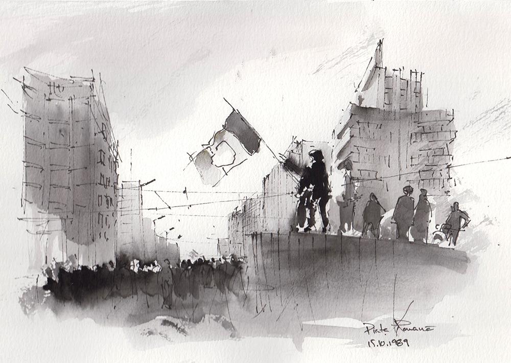 1989 Revolution Series, 21x28cm watercolours