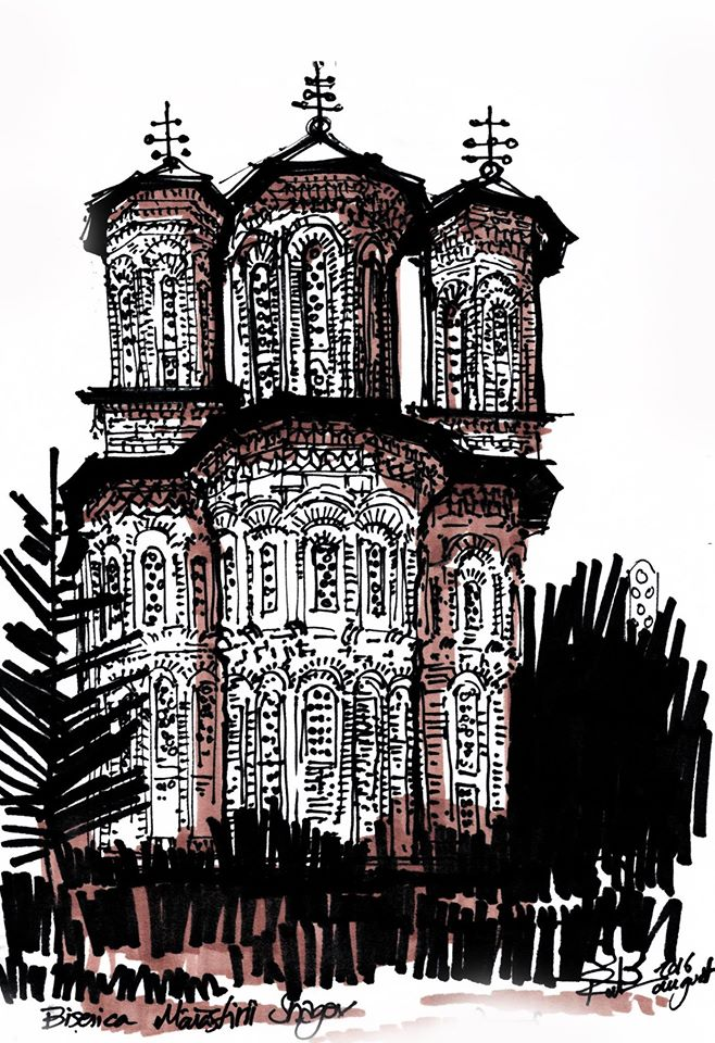 Snagov Monastery – Church, 20x28cm drawing