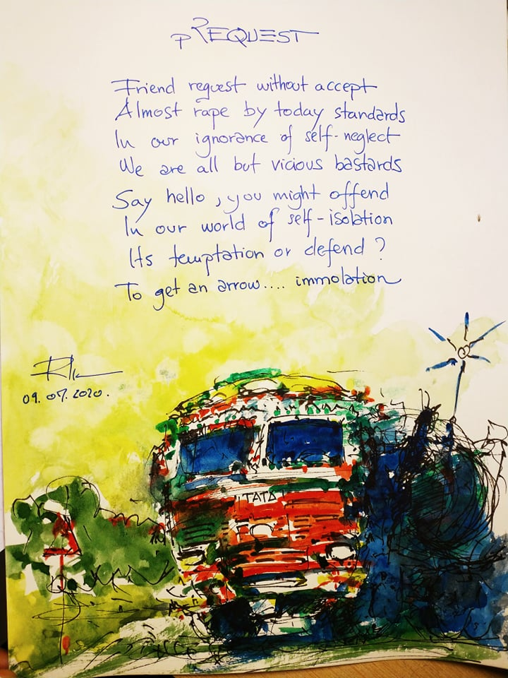 Waterpoetry, 21x29cm watercolours with poems 50€/pc.
