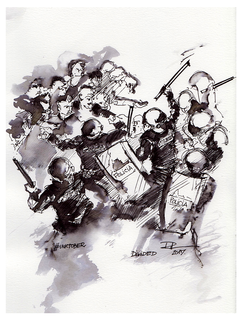 Divided, 21x29cm b&w  watercolour, 200€