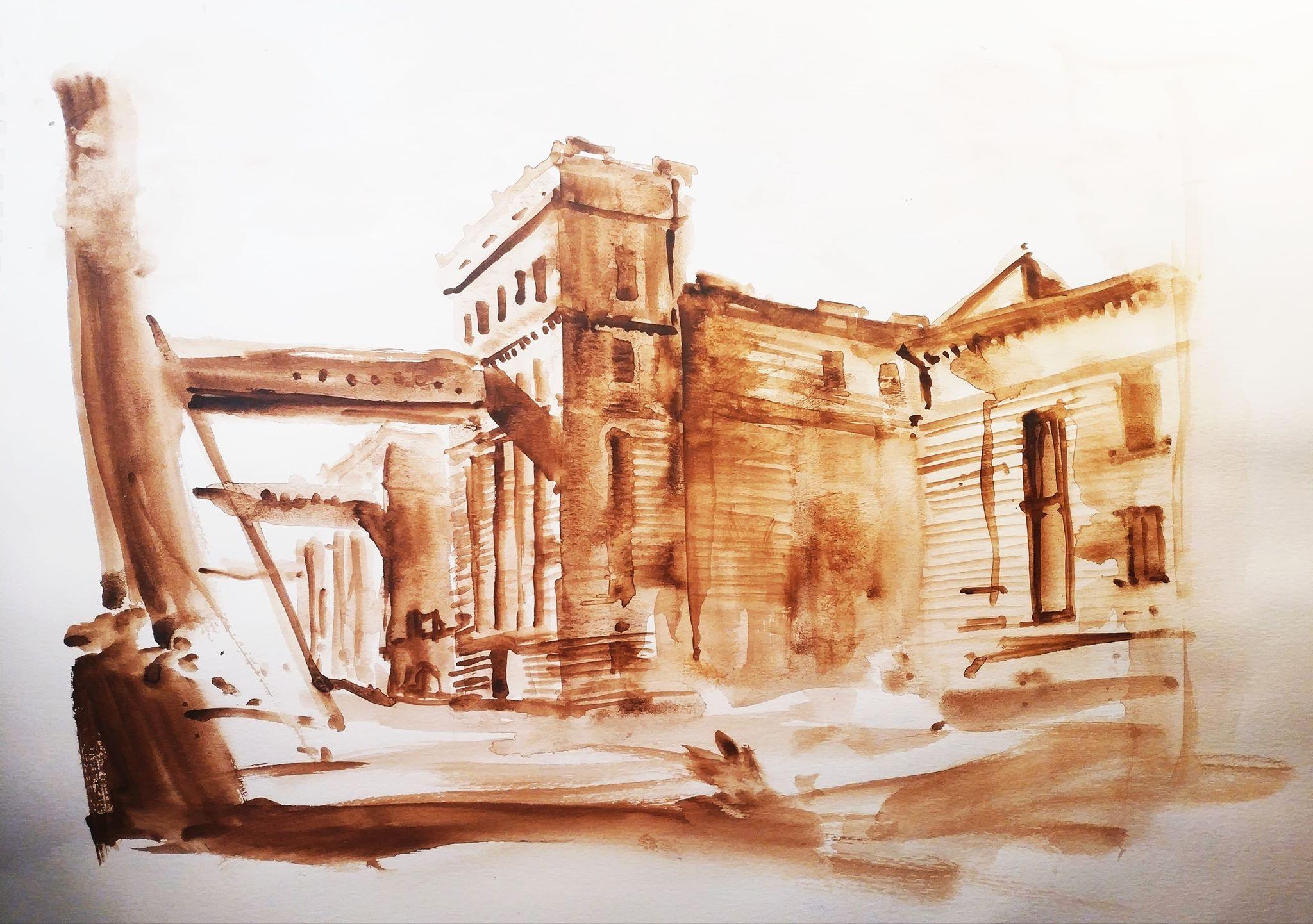 Anghel Saligny Silos, 29x42cm watercolour, 150€