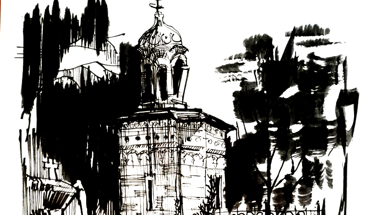 Bellu Cemetery Chapel, 21x29cm ink on paper