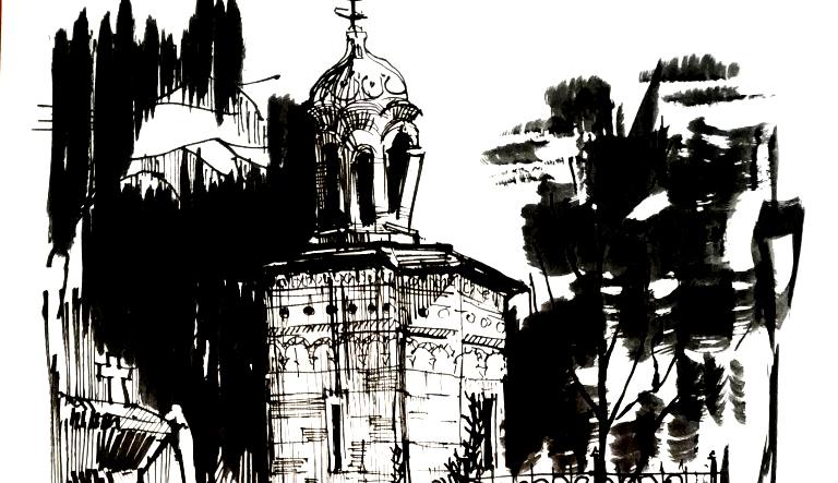 Bellu Cemetery Chapel, 21x29cm ink on paper, 80€