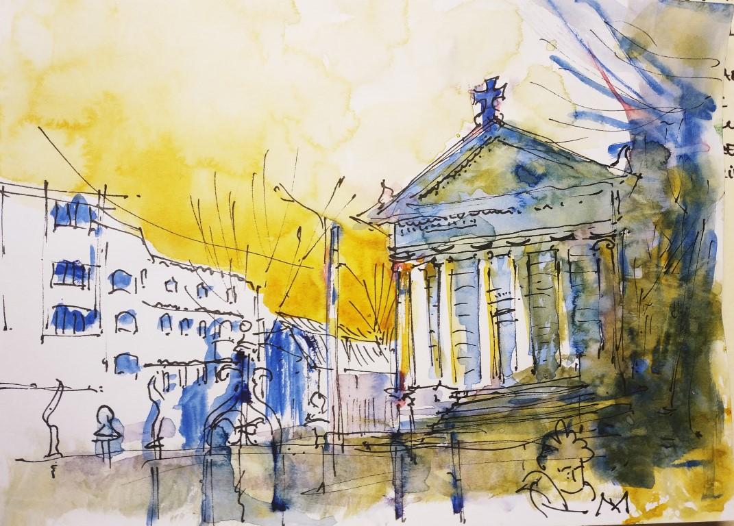 "[sold] The ""Greek Church"" in Bucharest, 15x21cm watercolour"