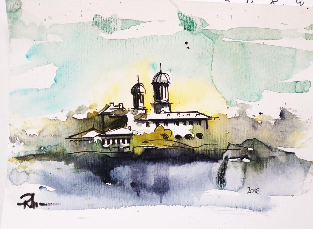 Căldărușani Monastery, 21x28cm watercolour, 80€
