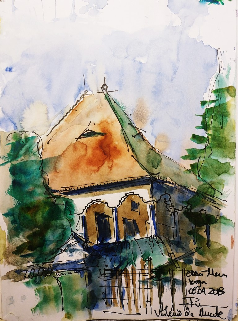 [sold] N. Iorga Memorial House – Vălenii de Munte, Prahova RO – 15x21cm watercolour