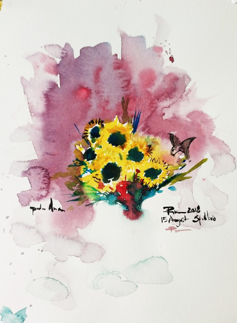 Ana's Flowers, 21x29cm watercolour on paper