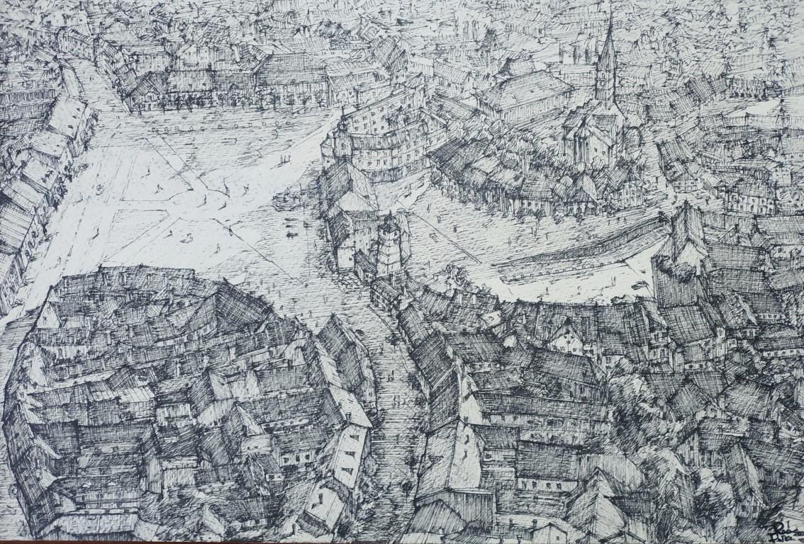 Sibiu, România 18x27cm ink on paper (etching), 90€