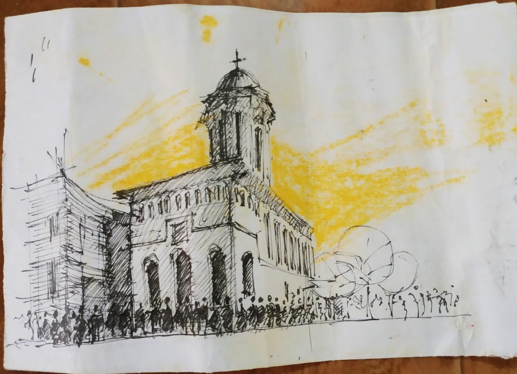 Orthodox Church Barcelona, 6x10cm ink sketch and acrylic, 100€