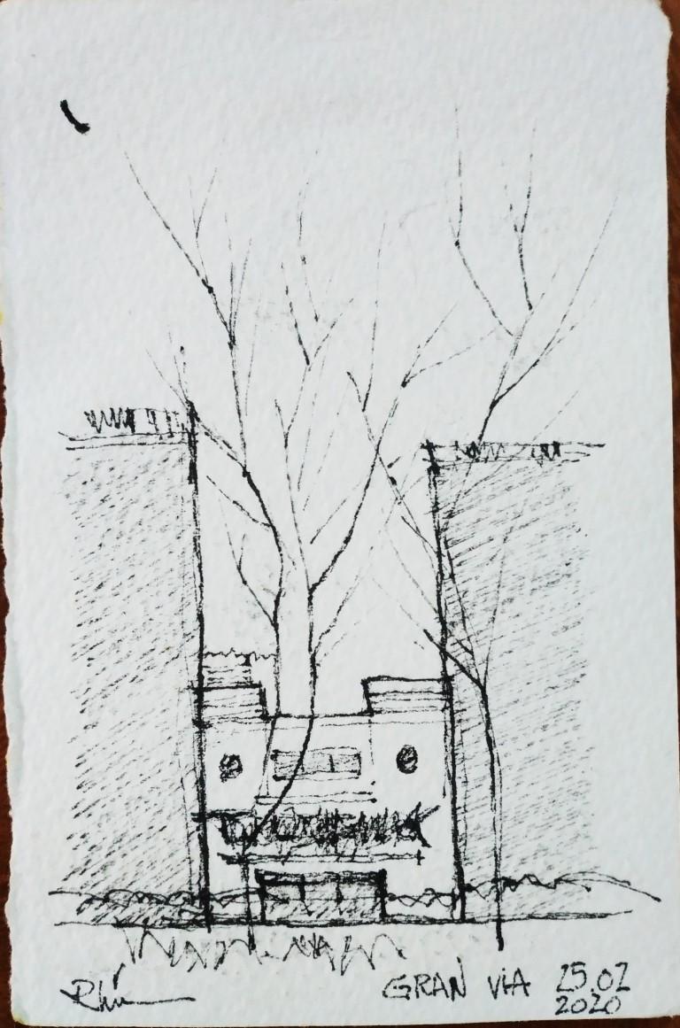 Guerrero de Gran Via, 5x8cm ink on paper, 150€