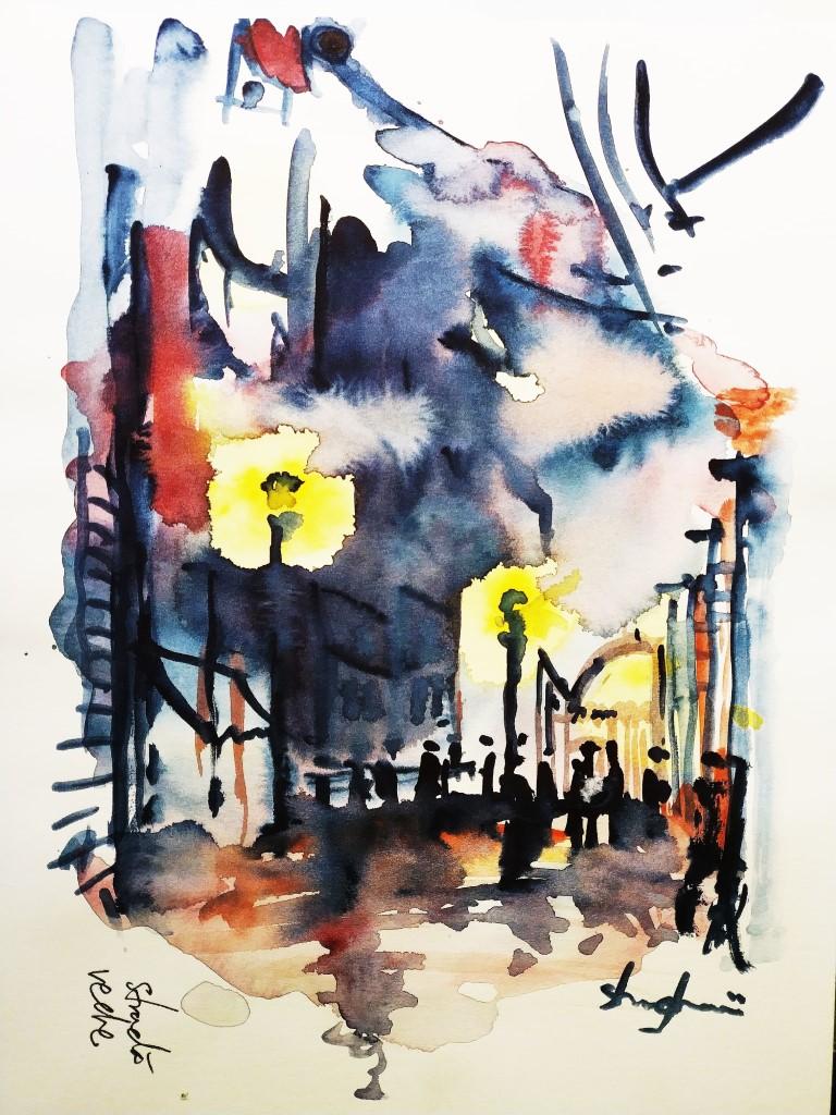 Dark City Lights, 21x29cm watercolour, 250€