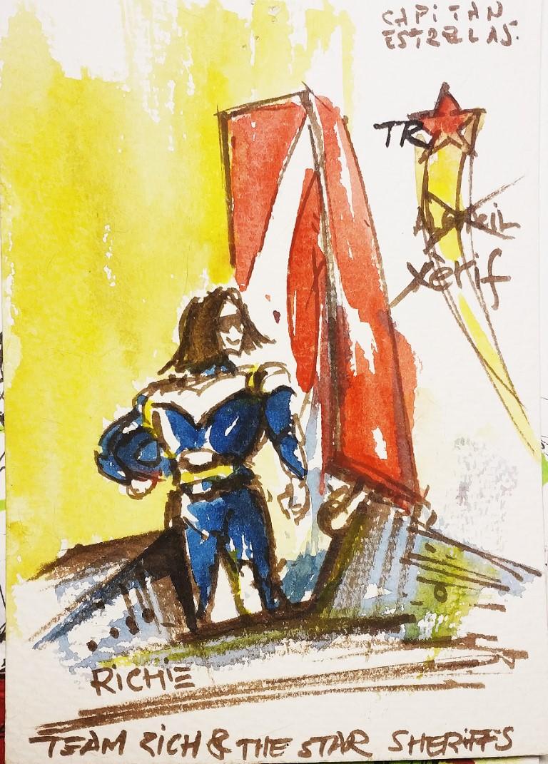Richie Rich – Motosheriff, 12x18cm watercolour, 100€