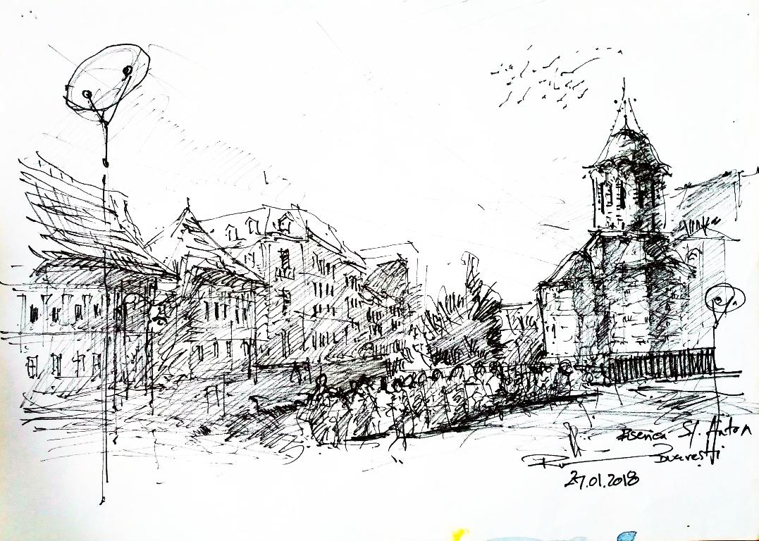 Biserica Sf. Anton – București, 21x29cm ink on paper, 70€