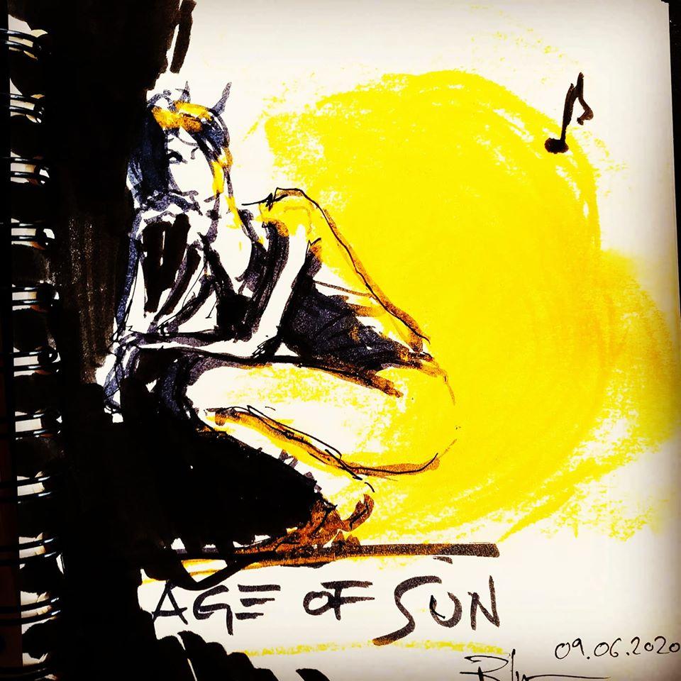 SOL EDAD, 29x42cm ink & acrylic yellow series, 70€/pc.