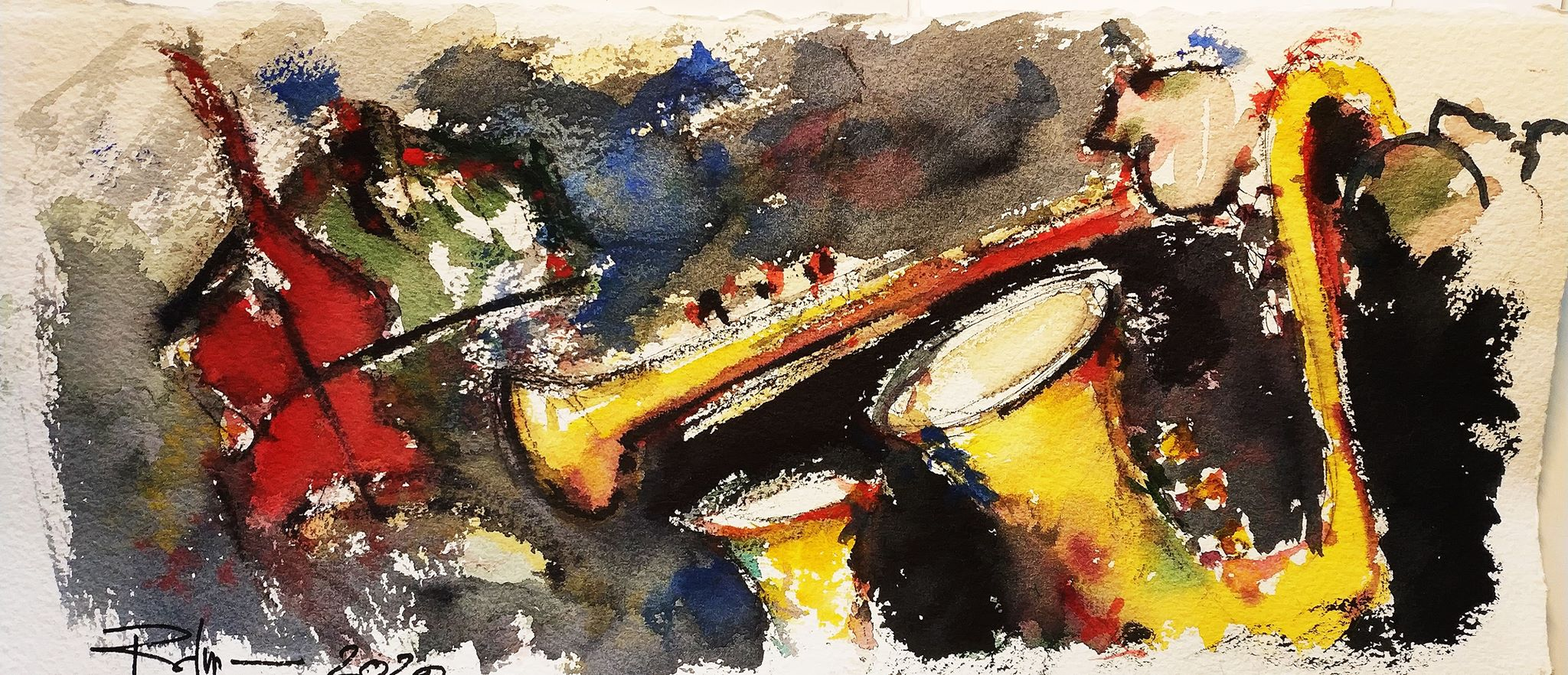 Haïdouks Taraf, 16x38cm watercolour, 2020, 130€