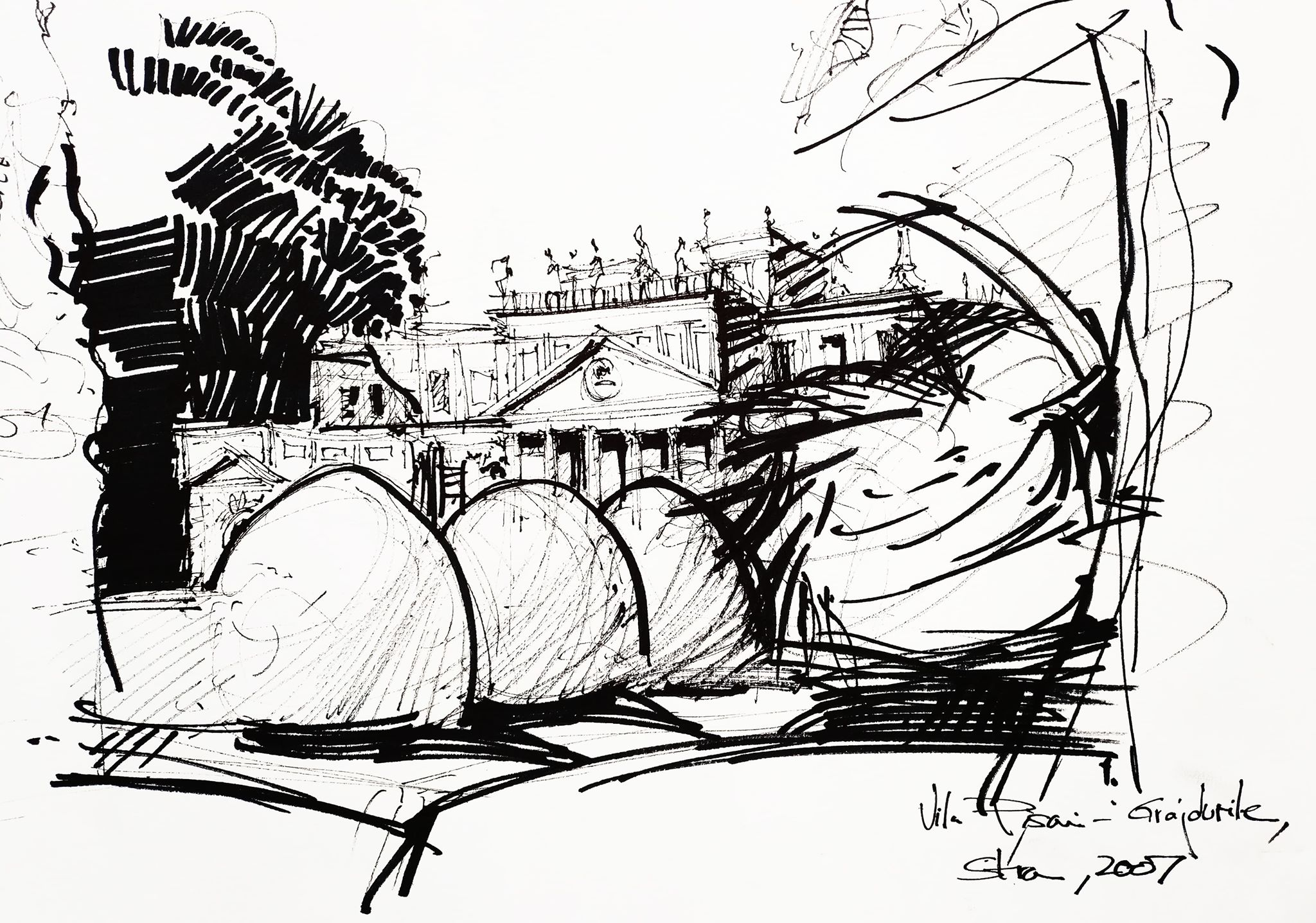 Vila Pisani – Stables, 21x29cm ink on paper
