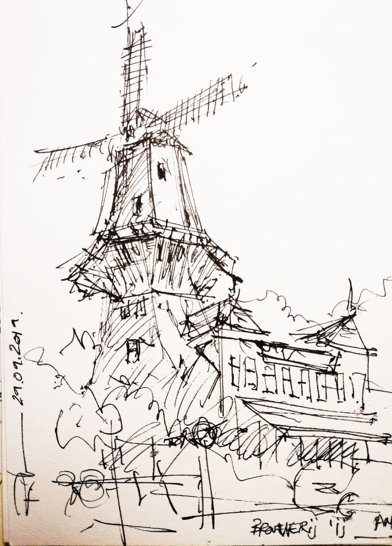 Windmill of Terror, 15x20cm drawing, 35€