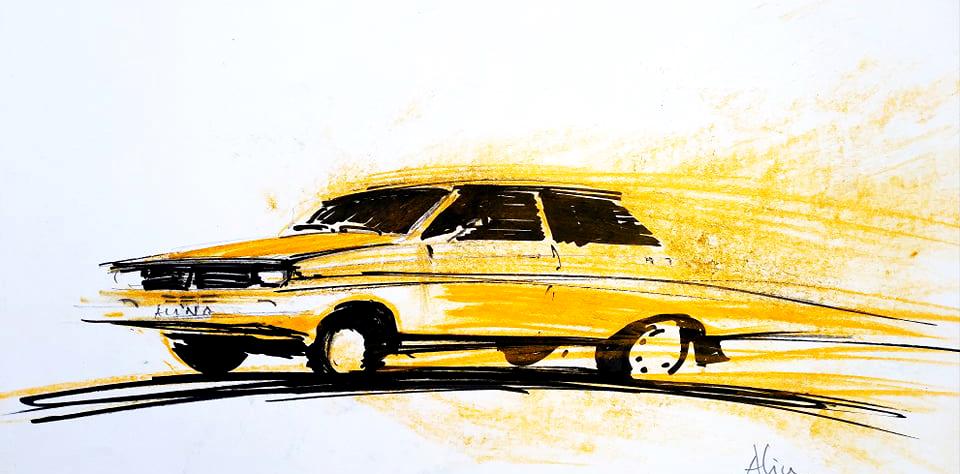 "Dacia 13oo ""ALFA"", 21x29cm  pastel, 500€"