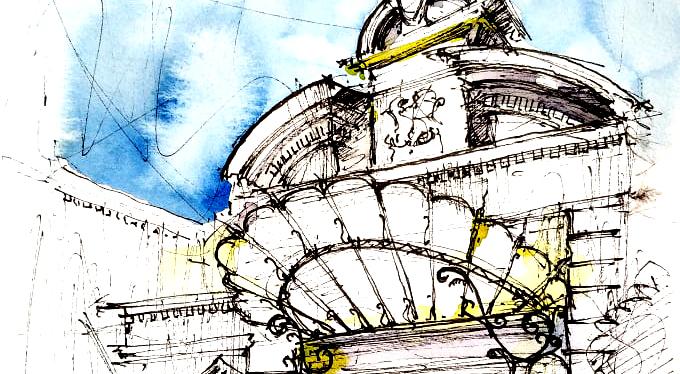 Eclectic Bucharest, 21x29cm watercolour, 2018, 70€