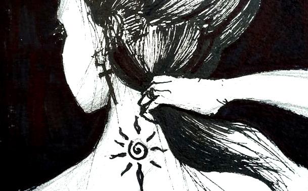 Cruel Autumn and her hidden tattoo, 15x21cm black ink, 60€
