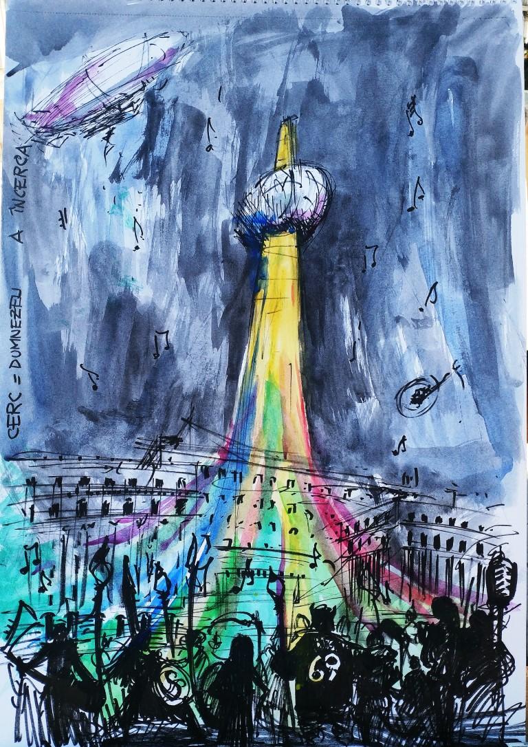 REVOLUTION SQUARE, 29x42cm Watercolour, 100€