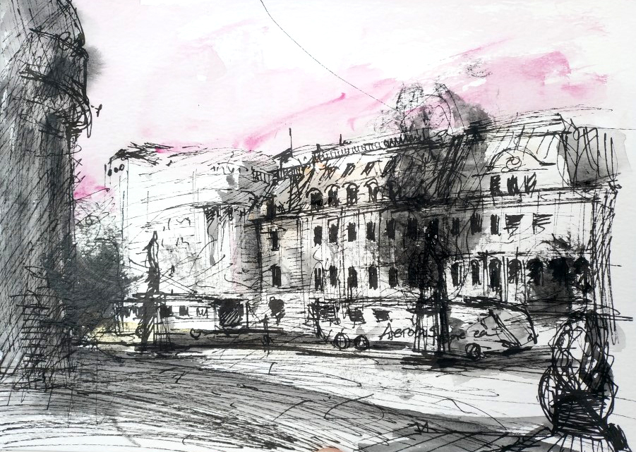 UNIVERSITATE I, 15x21cm watercolour, 60€