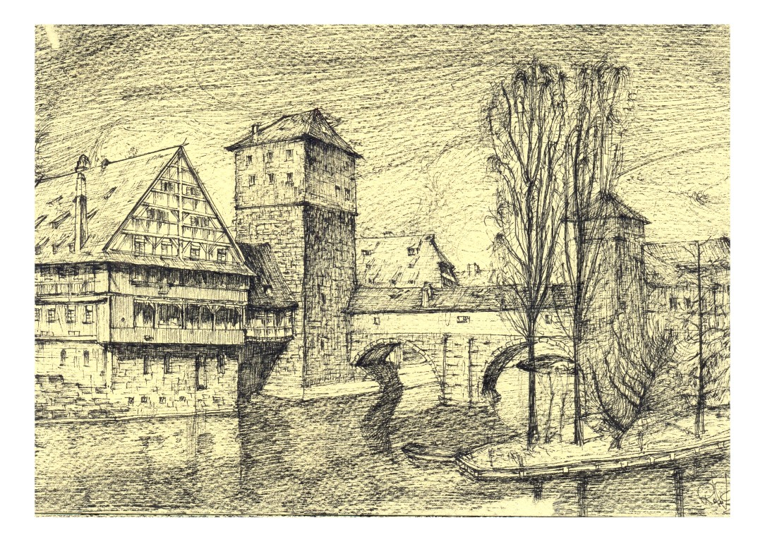Nürnberg, 14x20cm black ink on sepia paper