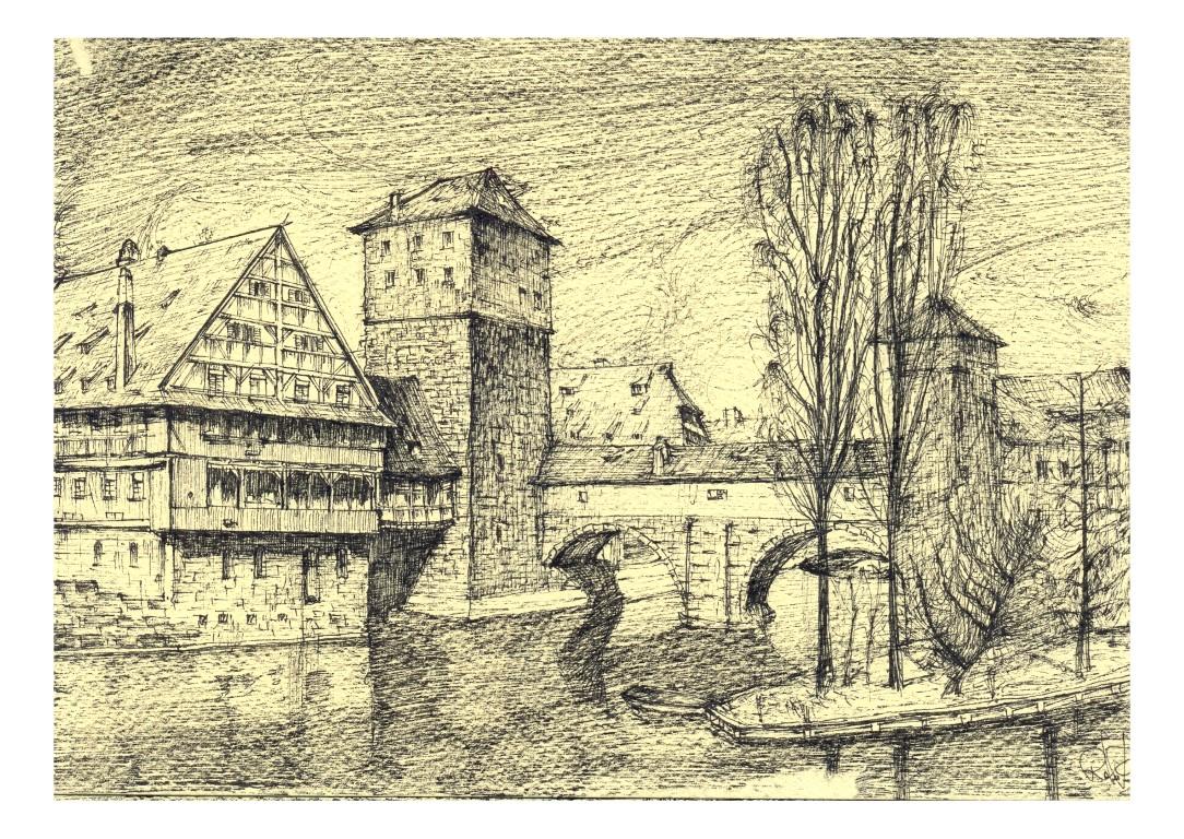 Nürnberg, 14x20cm black ink on sepia paper, 200€