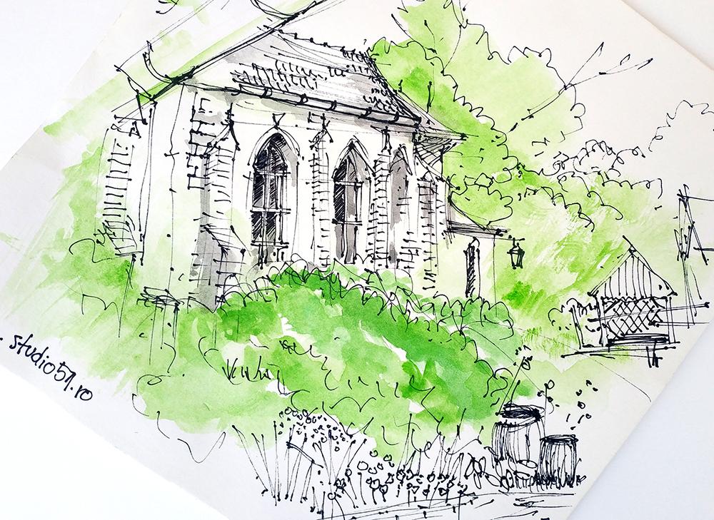 Agnita, Roman-Catholic church, 25x25cm ink&wash, 2020, 80€