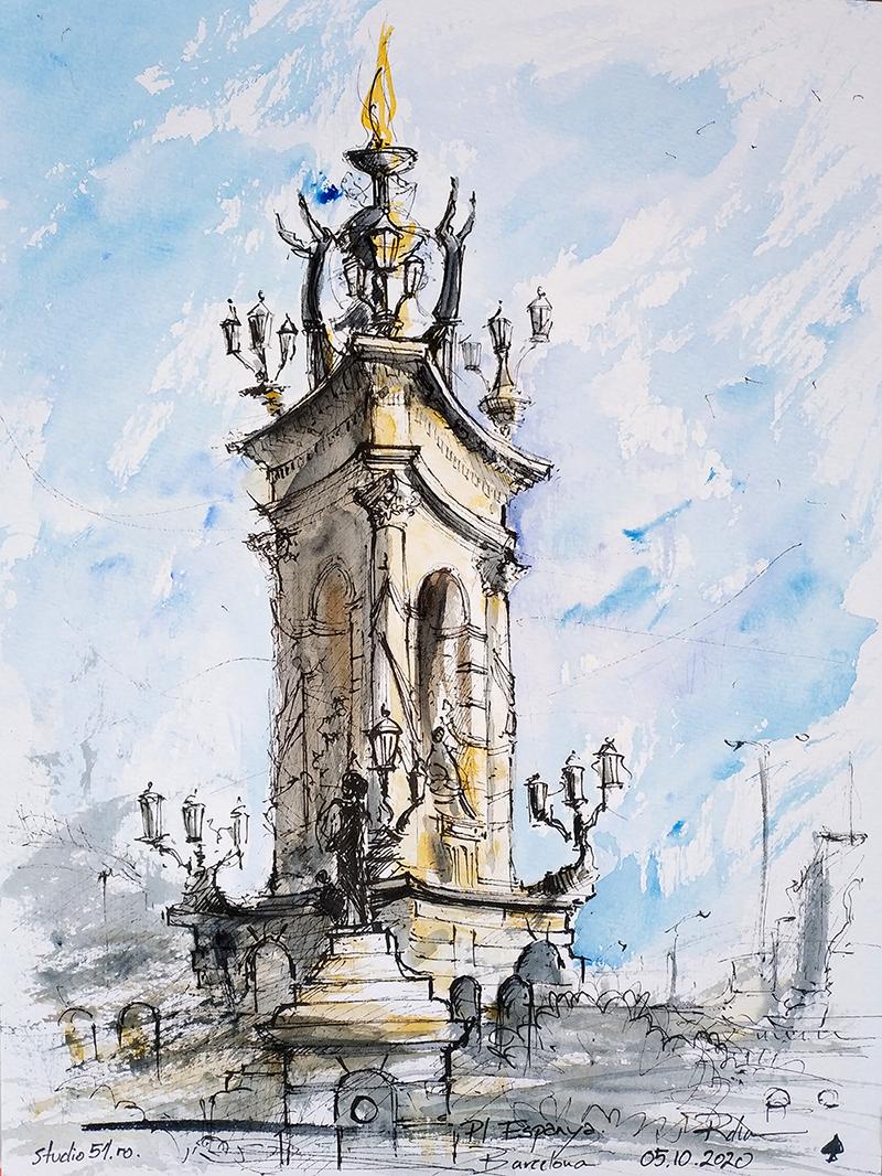 Plaça d'Espanya, Barcelona – fountain 24×32 watercolour, 2020, 90€