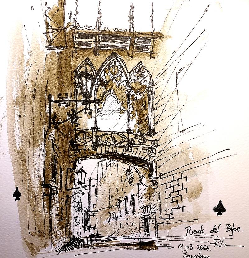 Gotic Tomnatic I – Puente del Bisbe, 20x20cm sepia watercolour, 40€