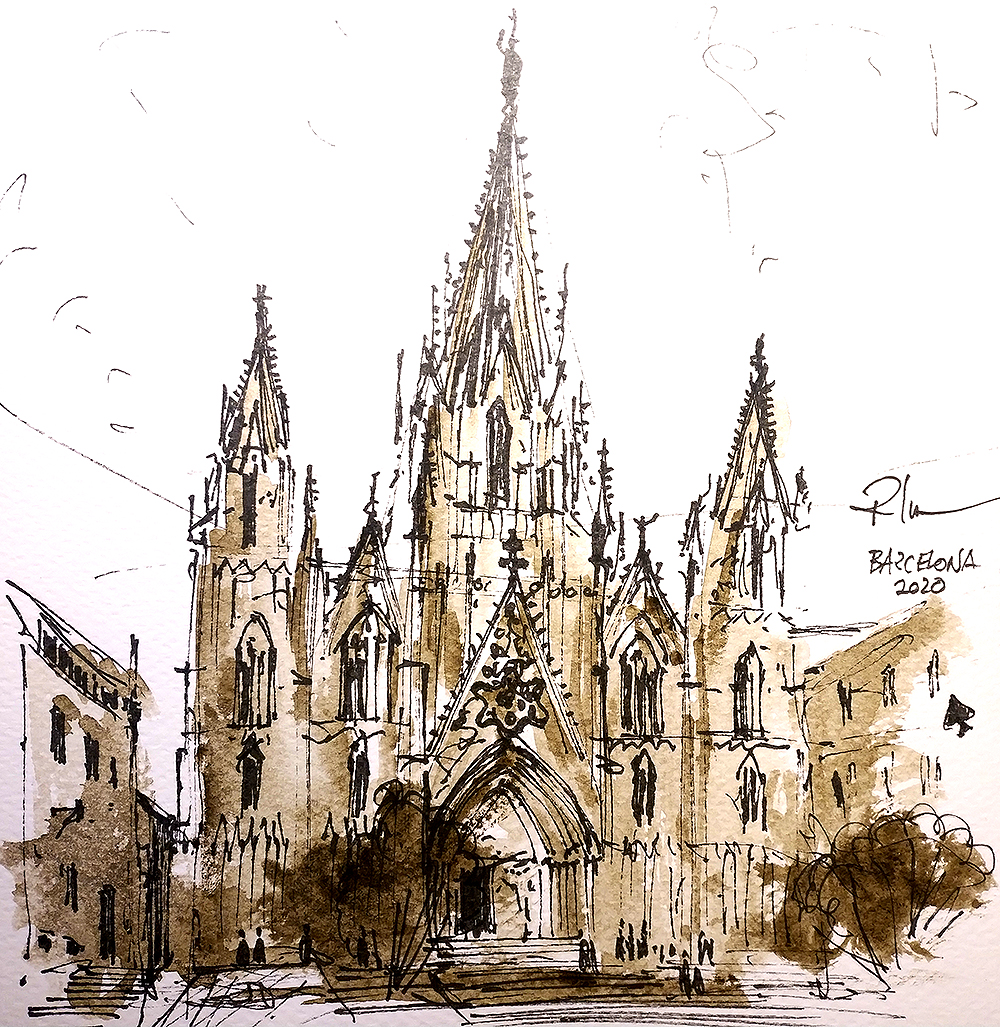Gotic Tomnatic II – Catedral de Barcelona, 20x20cm sepia watercolour, 40€