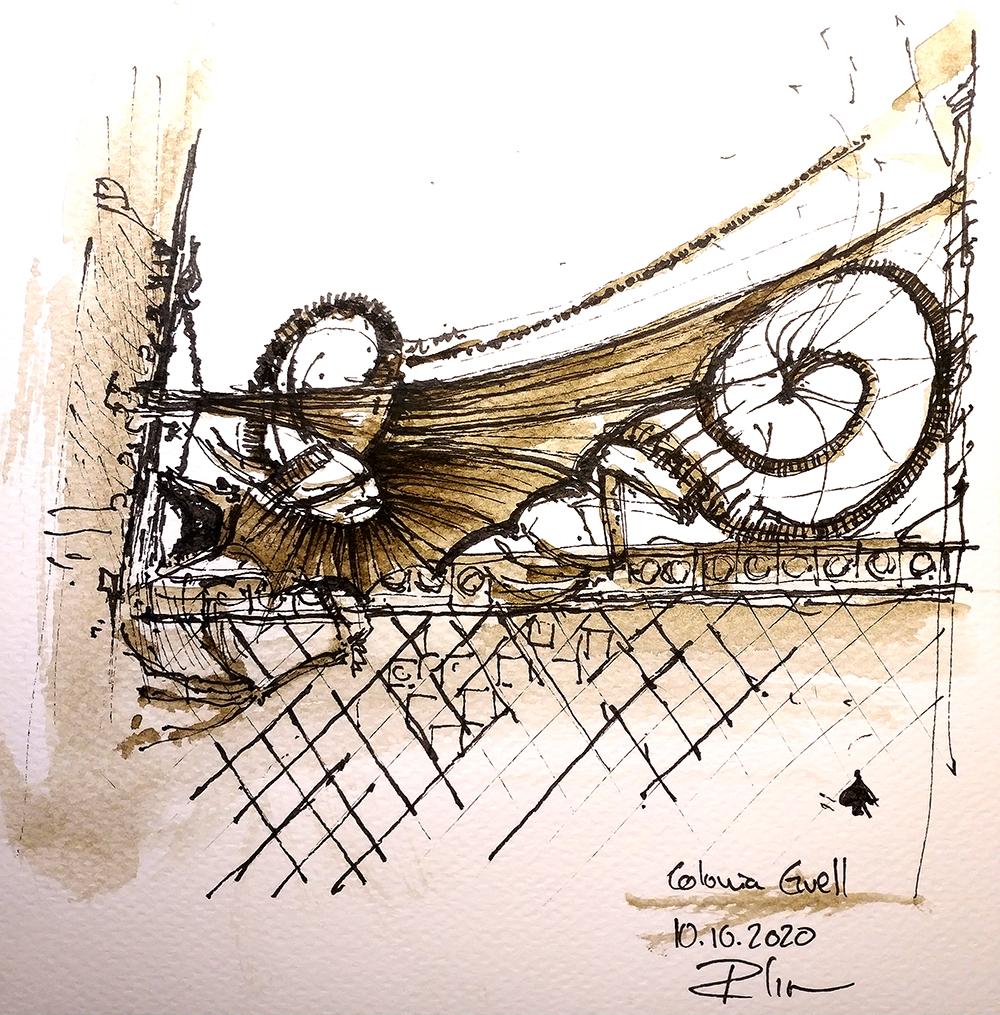 Gotic Tomnatic IV- el Drac Encadenat, 20x20cm sepia watercolour, 40€