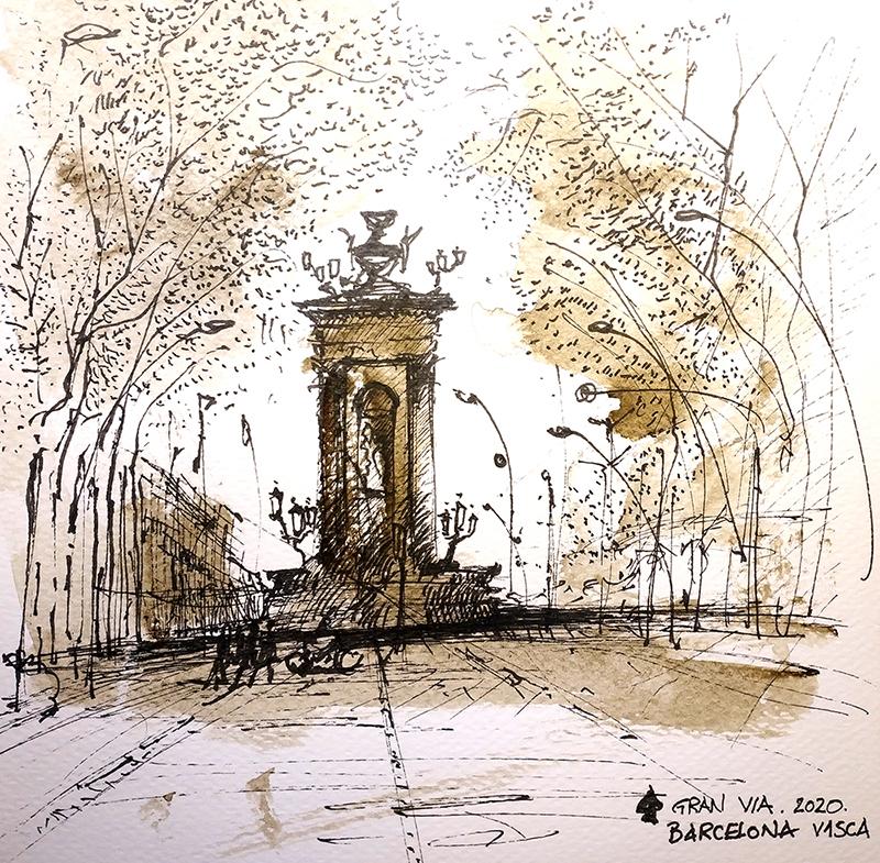 Gotic Tomnatic V- Plaça Espanya, 20x20cm sepia watercolour, 40€