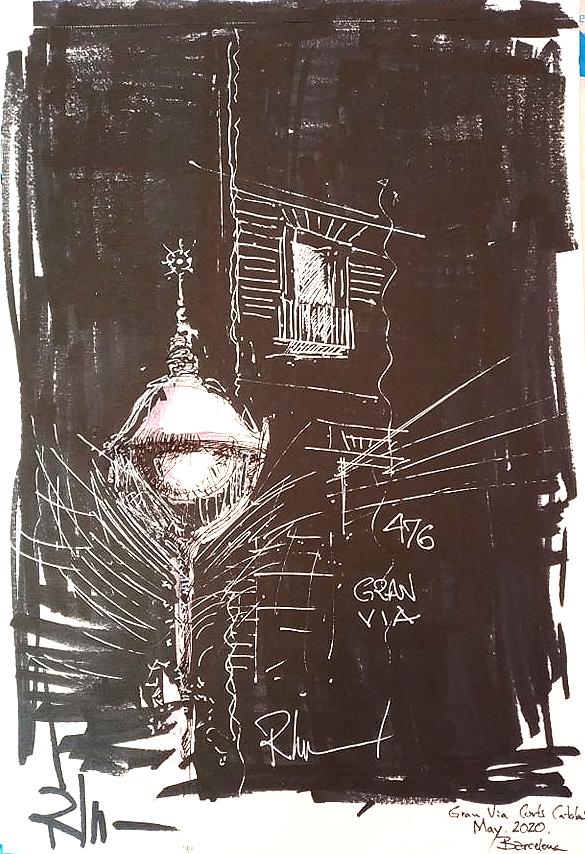 Gran Via 476 – Street Lamp, 21x29cm black ink, 2020, 120€