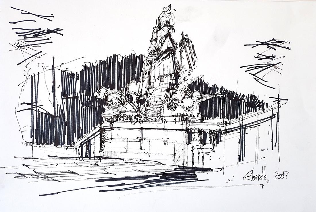 Gloriette, Schönbrunn Palace, Vienna – 21x29cm ink and drops of rain, 2007, 100€
