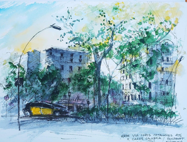Gran Via Sunset – II, 24x32cm watercolour, 85€