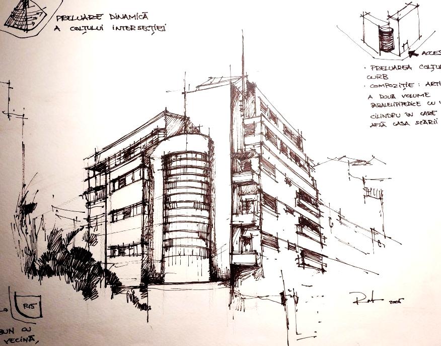 Rosetti nr. 43 – arh. Marcel Locar '33, sketch 29×42 cm, 2005, 750€
