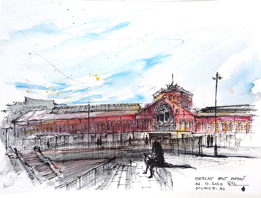 Mercat de Sant Antoni, 24x32cm watercolour, 65€