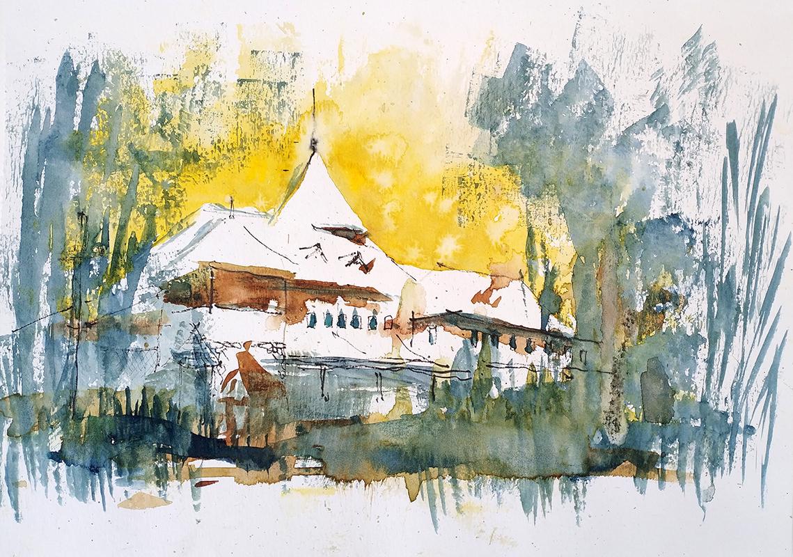 Muzeul Satului, București 21x29cm watercolour, 2018, 150€