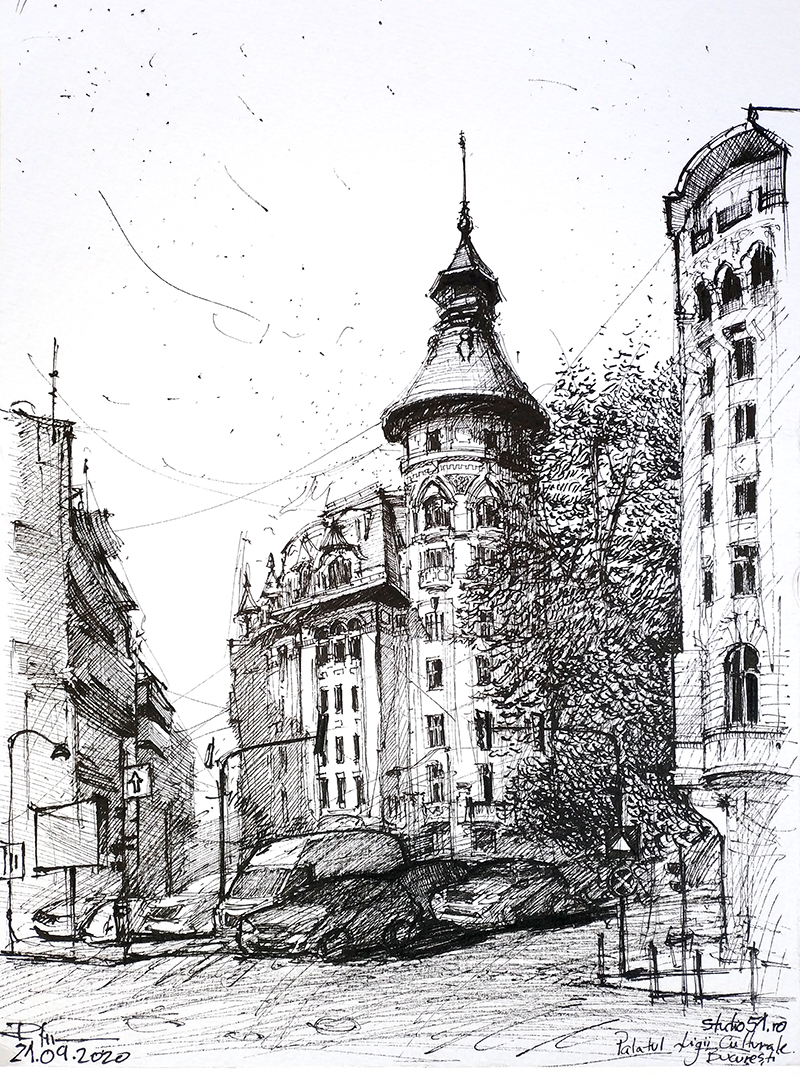 București, Palatul Ligii Culturale – tuș 24x32cm, 2020, 60€