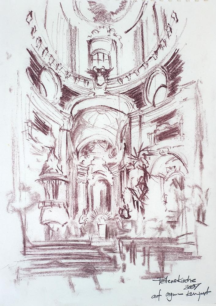Peterskirche, Viena 21x29cm pastel, 2007, 100€