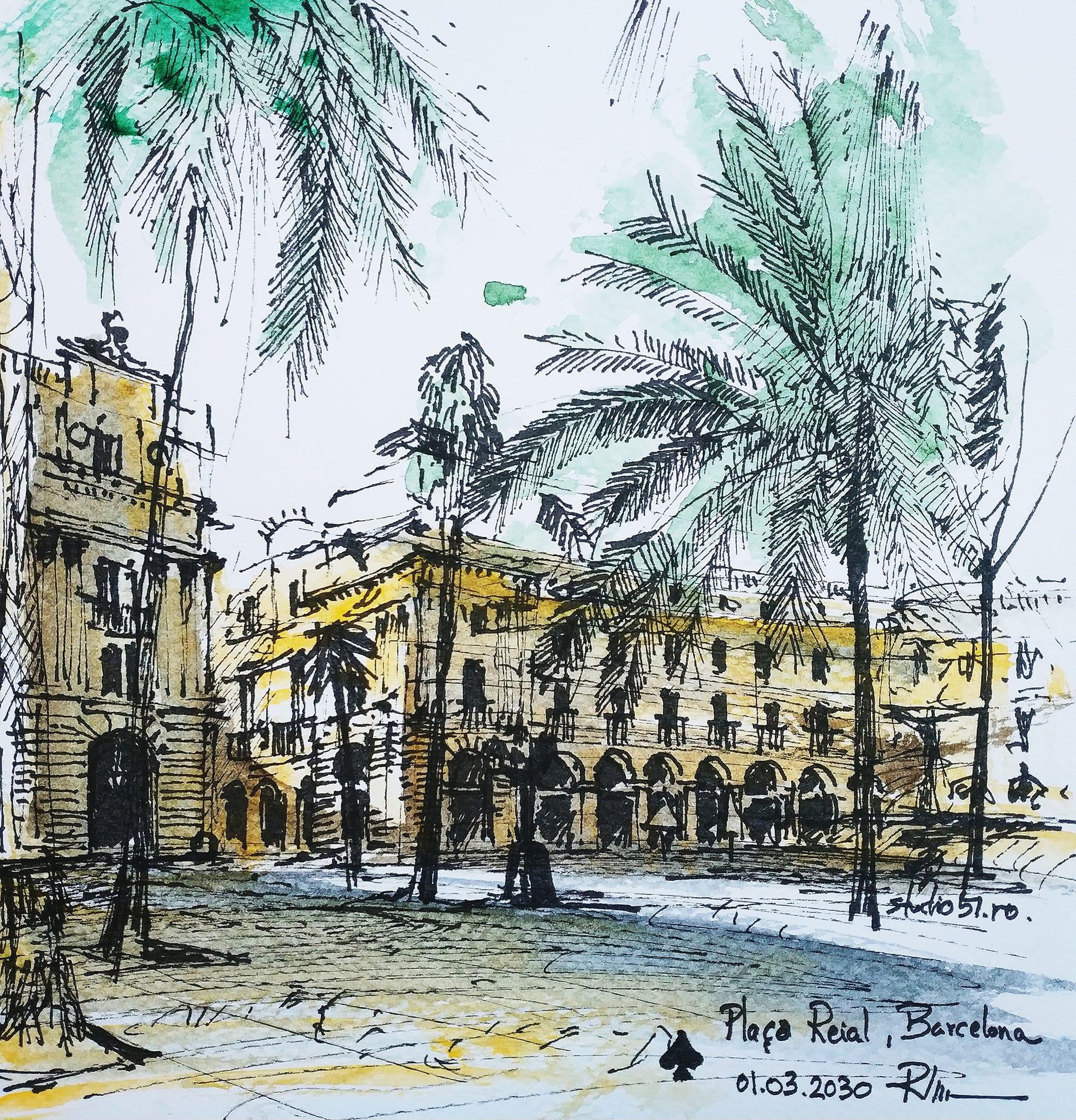 Plaça Reial – Barcelona, 20x20cm watercolour, 40€