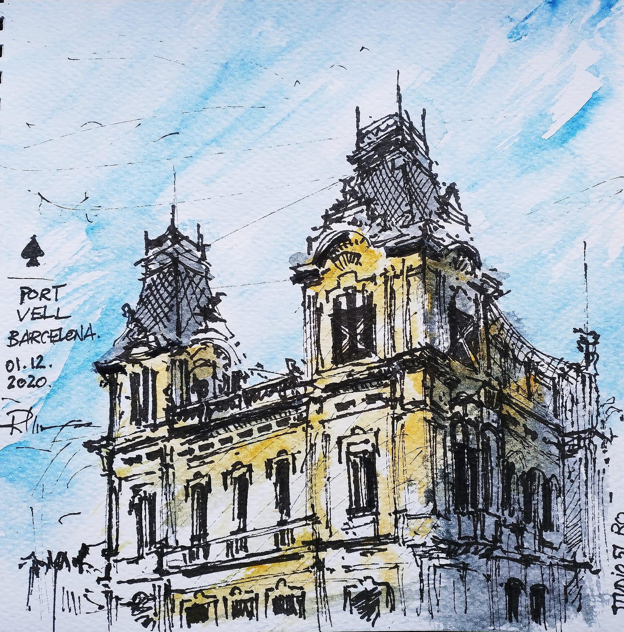 Port Vell – Barcelona, 20x20cm watercolour, 40€