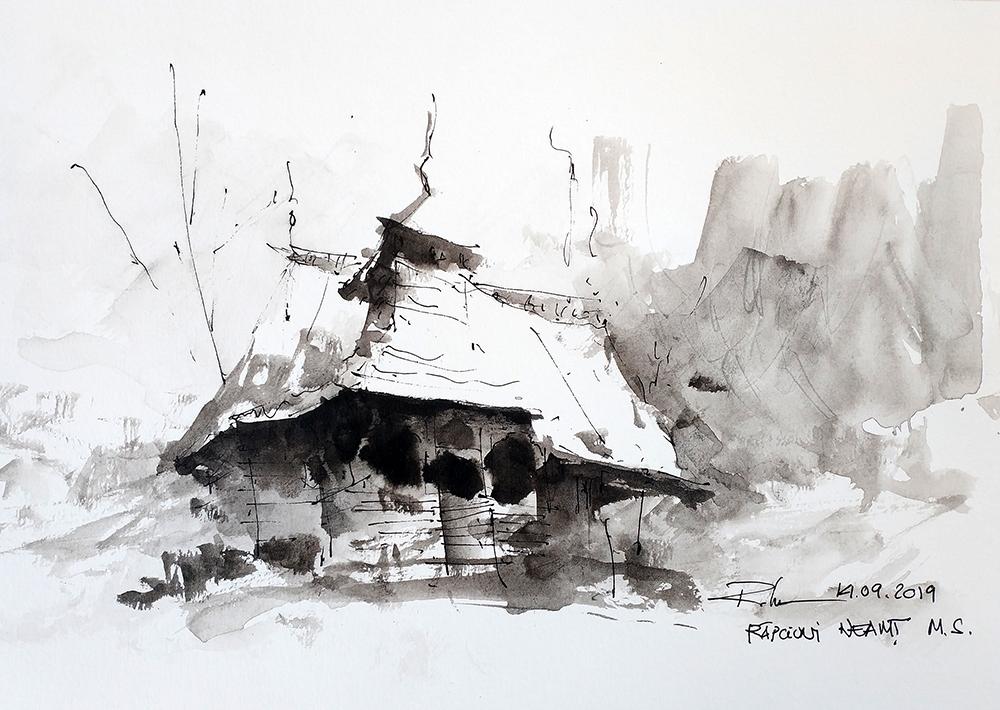 Răpciuni, Neamț wooden church Muzeul Satului, 21x29cm – watercolour 2018, 50€