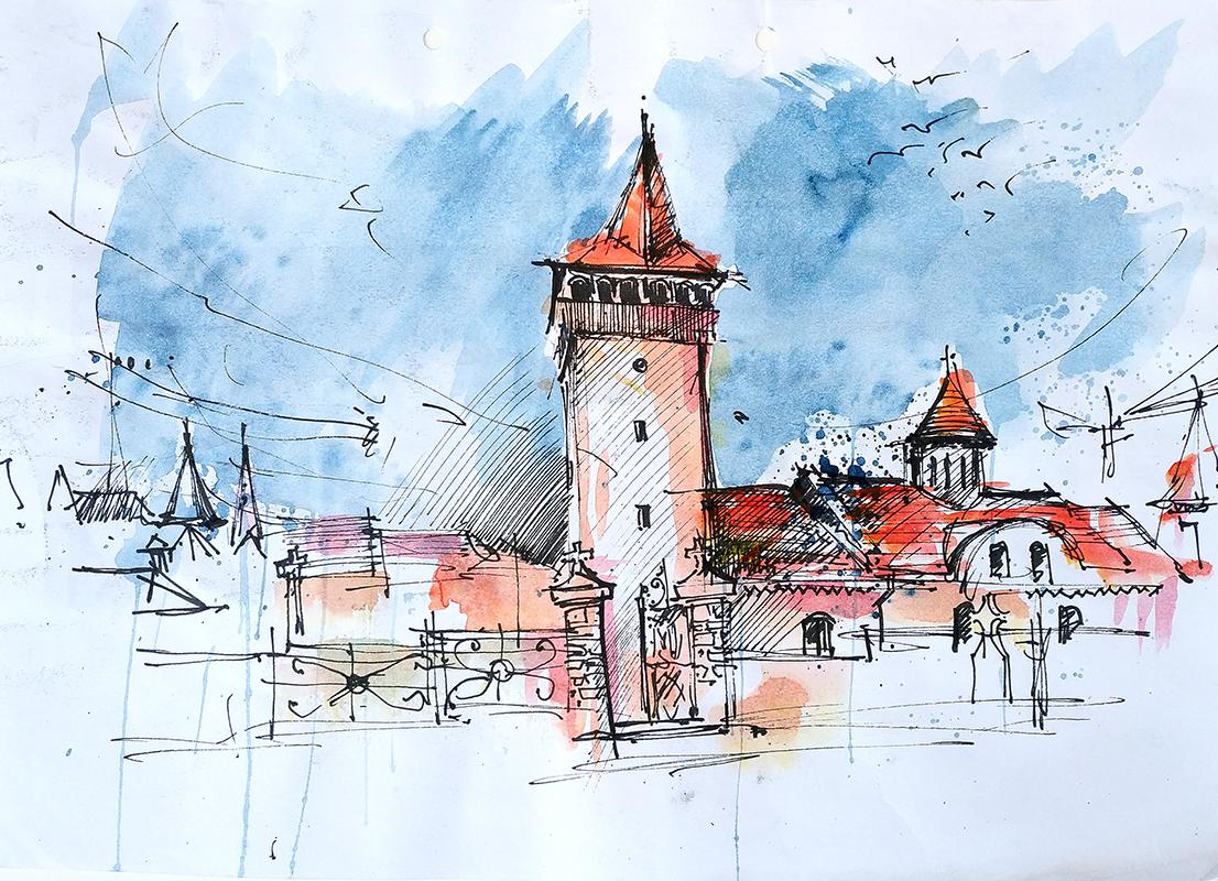 St. Nicholas Church – Hunedoara, 21x29cm watercolour, 2018, 60€